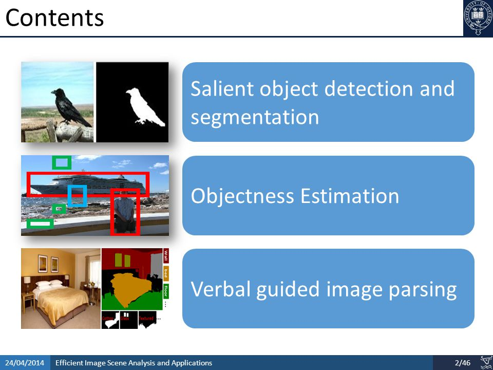 Efficient Image Scene Analysis and Applications24/04/20143/46 Images change the way we live