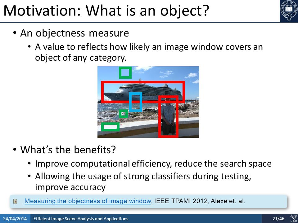 Efficient Image Scene Analysis and Applications24/04/201421/46 Motivation: What is an object.