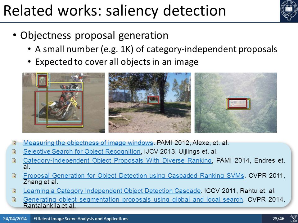 Efficient Image Scene Analysis and Applications24/04/201423/46 Related works: saliency detection Objectness proposal generation A small number (e.g.
