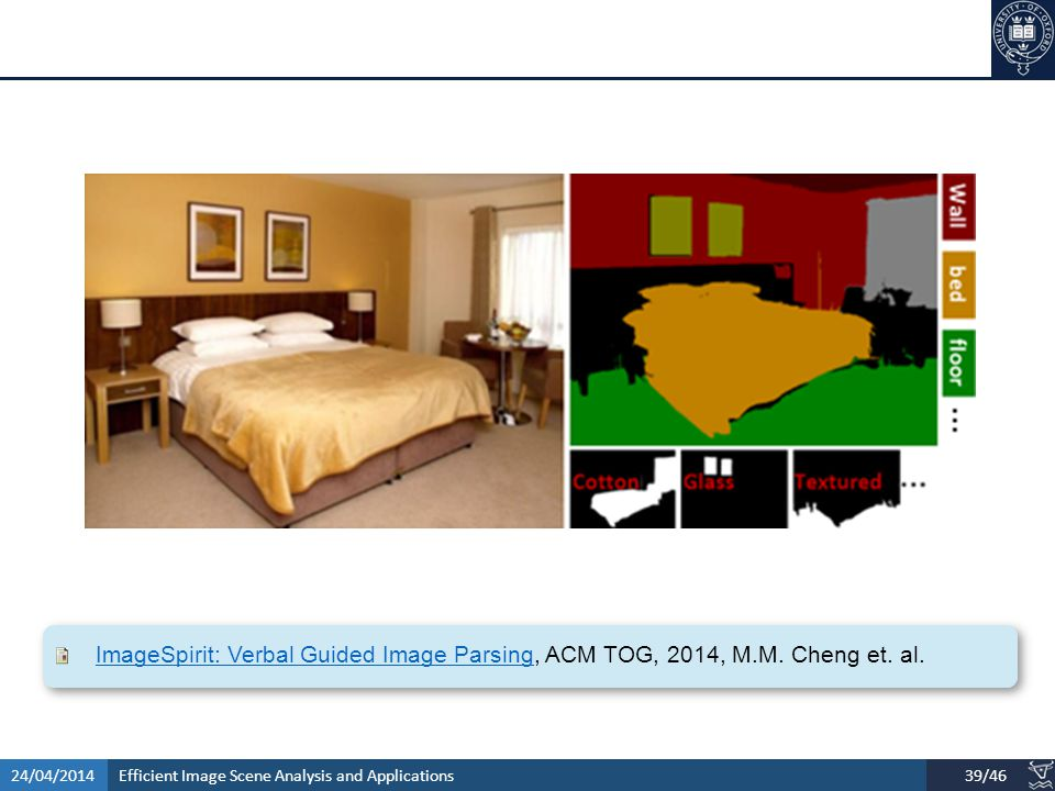 Efficient Image Scene Analysis and Applications24/04/201439/46 ImageSpirit: Verbal Guided Image ParsingImageSpirit: Verbal Guided Image Parsing, ACM TOG, 2014, M.M.