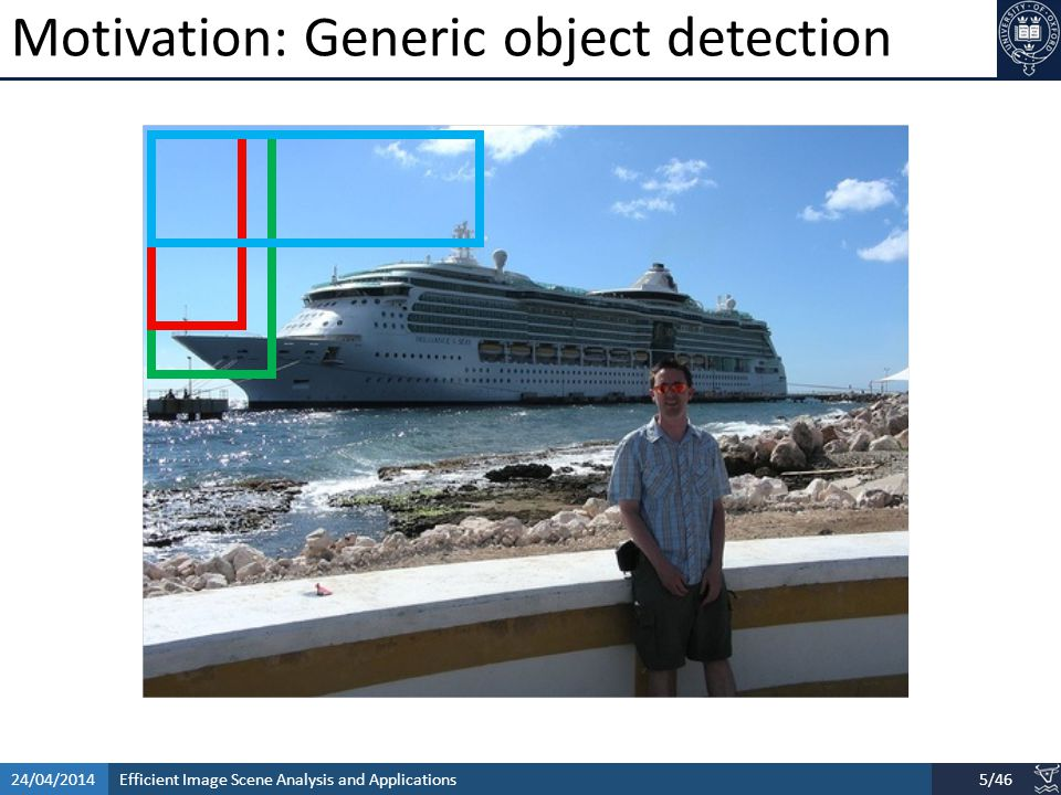 Efficient Image Scene Analysis and Applications24/04/20146/46 Contents Salient object detection and segmentation Objectness Estimation Verbal guided image parsing