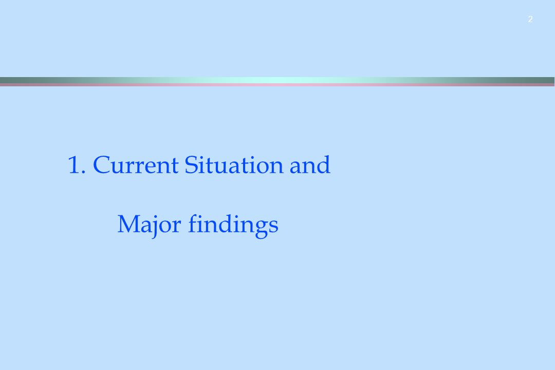 2 1. Current Situation and Major findings