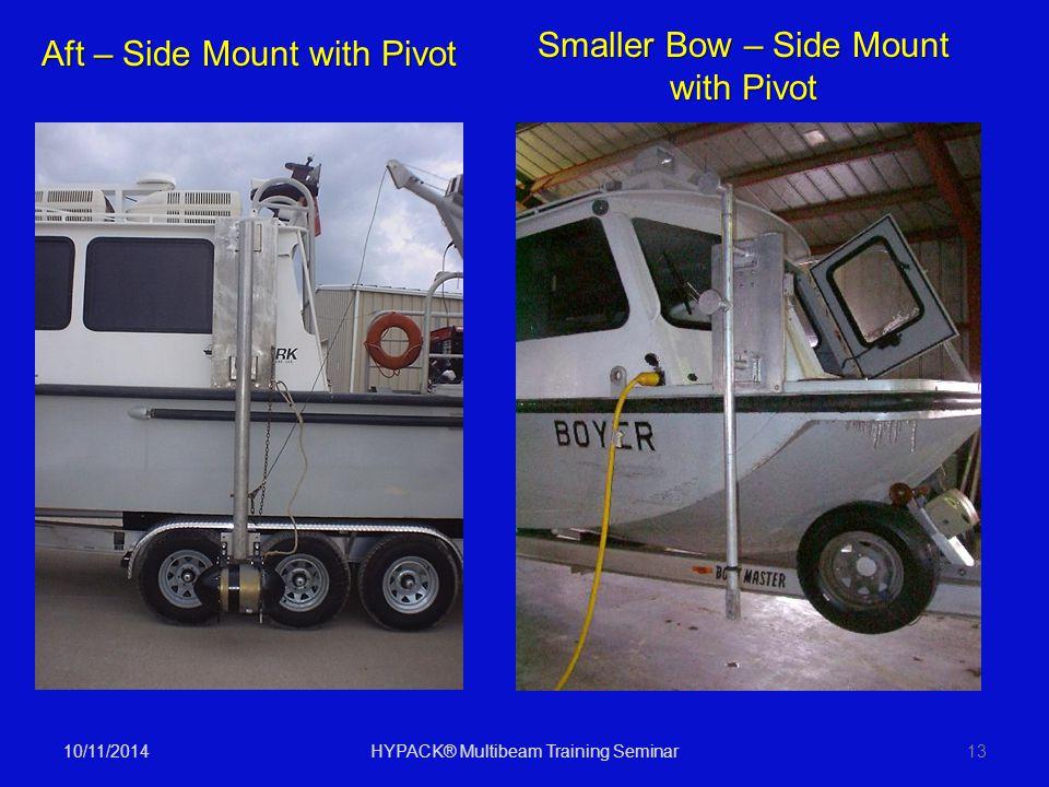 10/11/2014HYPACK® Multibeam Training Seminar13 Aft – Side Mount with Pivot Smaller Bow – Side Mount with Pivot