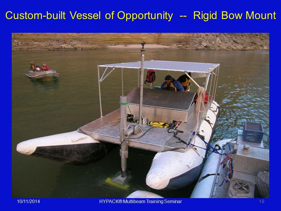 10/11/2014HYPACK® Multibeam Training Seminar19 Custom-built Vessel of Opportunity -- Rigid Bow Mount
