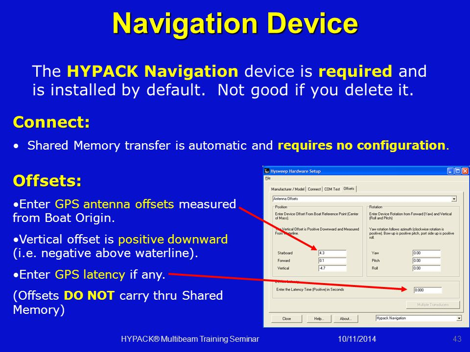 10/11/2014HYPACK® Multibeam Training Seminar43 Navigation Device Offsets: Enter GPS antenna offsets measured from Boat Origin. Vertical offset is posi