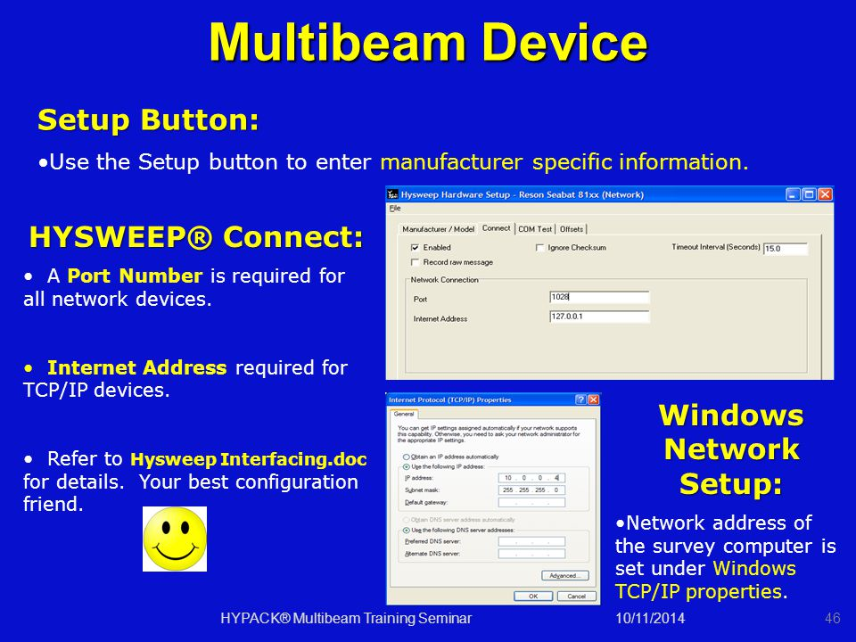 10/11/201446 Multibeam Device Setup Button: Use the Setup button to enter manufacturer specific information. HYSWEEP® Connect: A Port Number is requir