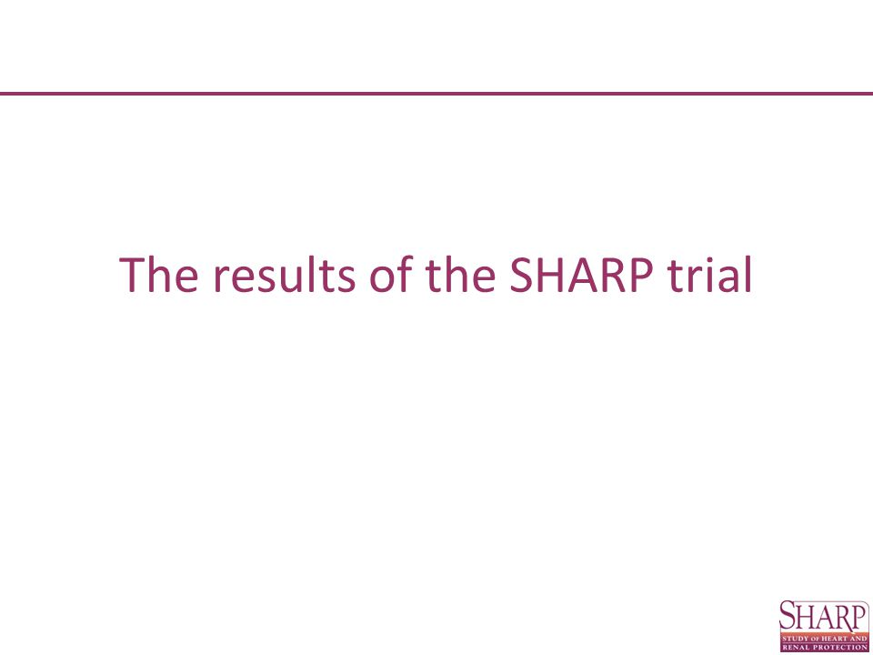 0.50.7511.52 Trial Events (% pa) Allocated LDL-C reduction Allocated control Risk ratio (RR) per mmol/L LDL-C reduction p LDL-C reduction better Control better 99% or95% CI Comparison of SHARP with other trials: Non-Fatal Non-Haemorrhagic Stroke 4D 31 (1.80)29 (1.67) AURORA 46 (0.99)39 (0.84) ALERT 51 (0.97)40 (0.76) SHARP 97 (0.51)128 (0.68)  3 2 =6.4 (p = 0.09) Subtotal: 4 renal trials 225 (0.73)236 (0.77)0.95 (0.77- 1.17) 0.65 23 other trials1624 (0.48)2052 (0.61)0.78 (0.73 - 0.83) <0.0001 All trials 1849 (0.50)2288 (0.62)0.79 (0.74 - 0.84) <0.0001 Difference between renal and non-renal trials:  1 2 = 3.4 (p = 0.07)