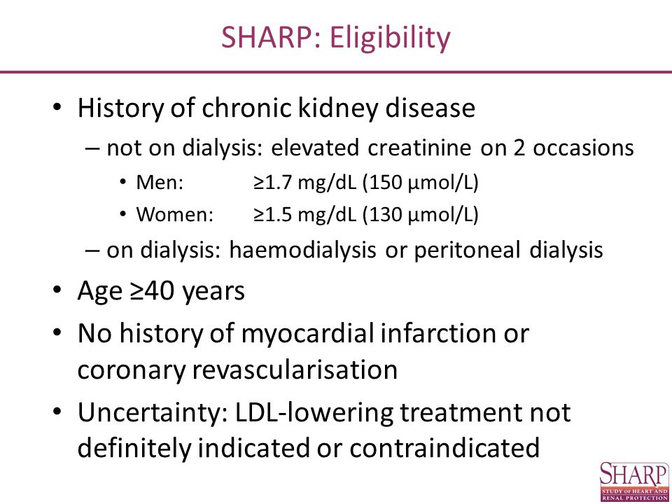 SHARP: Main outcomes Key outcome Major atherosclerotic events (coronary death, MI, non-haemorrhagic stroke, or any revascularisation) Subsidiary outcomes Major vascular events (cardiac death, MI, any stroke, or any revascularisation) Components of major atherosclerotic events Main renal outcome End stage renal disease (dialysis or transplant)