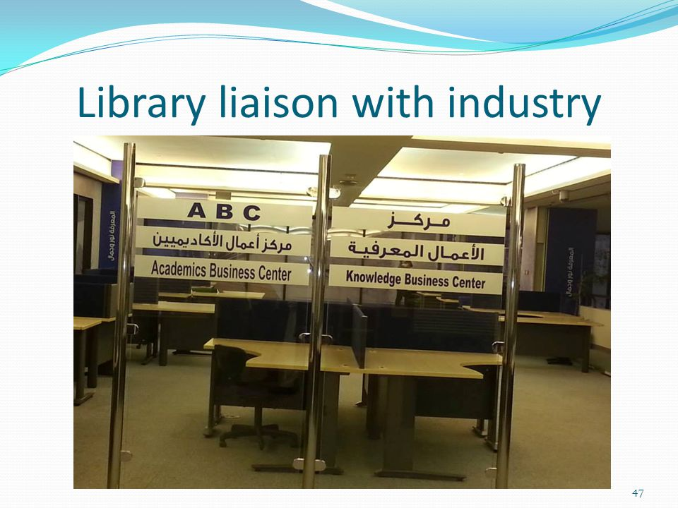 Library liaison with industry 47