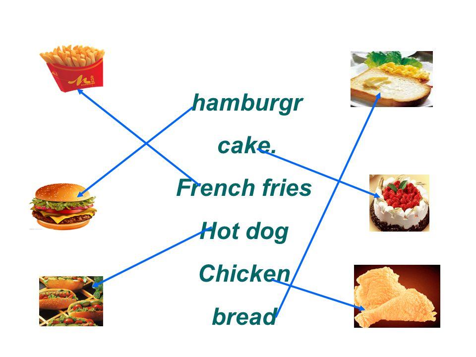 hamburgr cake. French fries Hot dog Chicken bread