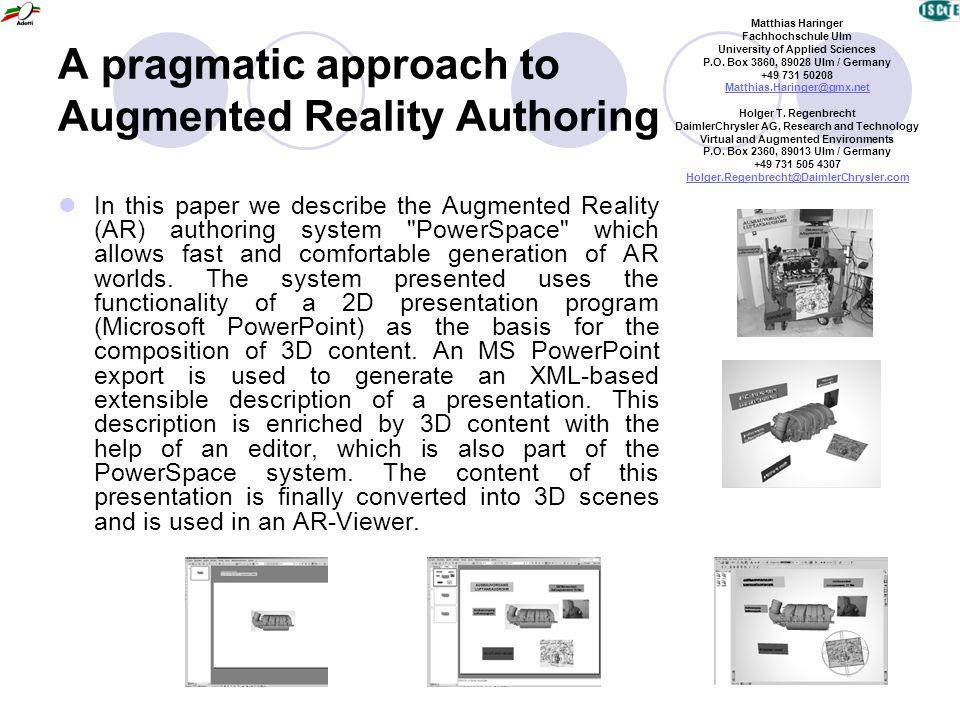 The MagicBook - Moving Seamlessly between Reality and Virtuality Mark Billinghurst University of Washington Hirukazu, Kato Hiroshima City University Ivan Poupyrev Sony Computer Science Laboratories