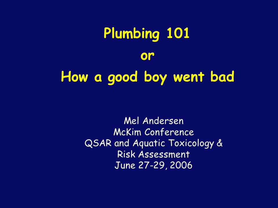 Plumbing 101 or How a good boy went bad Mel Andersen McKim Conference QSAR and Aquatic Toxicology & Risk Assessment June 27-29, 2006