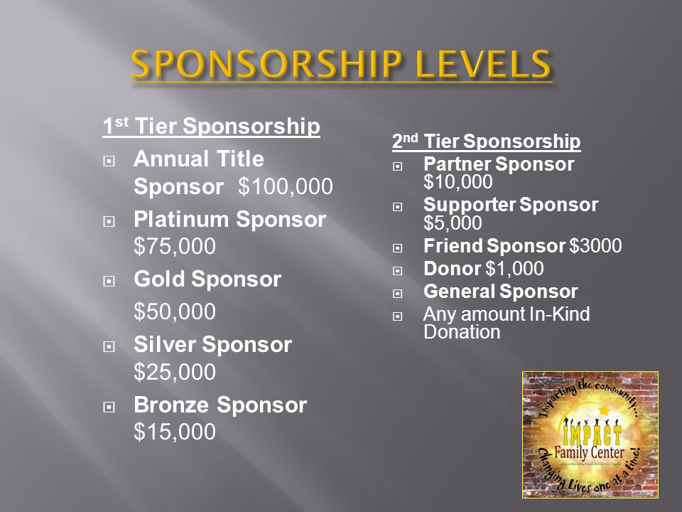 2 nd Tier Sponsorship  Partner Sponsor $10,000  Supporter Sponsor $5,000  Friend Sponsor $3000  Donor $1,000  General Sponsor  Any amount In-Kind Donation 1 st Tier Sponsorship  Annual Title Sponsor $100,000  Platinum Sponsor $75,000  Gold Sponsor $50,000  Silver Sponsor $25,000  Bronze Sponsor $15,000