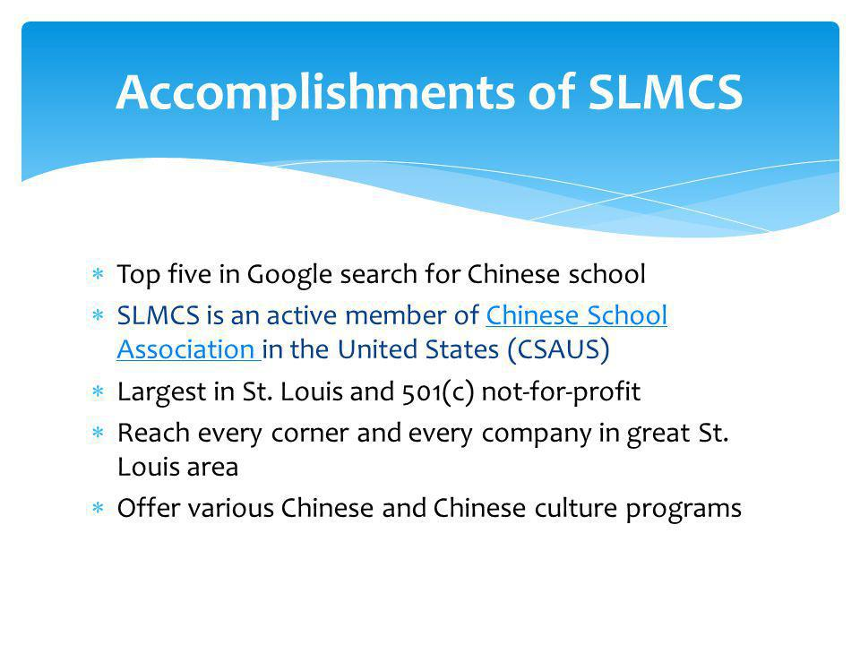  Top five in Google search for Chinese school  SLMCS is an active member of Chinese School Association in the United States (CSAUS)Chinese School As