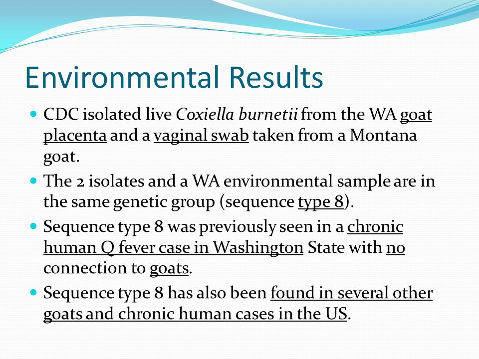 Environmental Results CDC isolated live Coxiella burnetii from the WA goat placenta and a vaginal swab taken from a Montana goat.