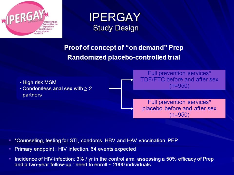 IPERGAY Study Design High risk MSM Condomless anal sex with > 2 partners Full prevention services* TDF/FTC before and after sex (n=950) Full prevention services* placebo before and after sex (n=950)  *Counseling, testing for STI, condoms, HBV and HAV vaccination, PEP  Primary endpoint : HIV infection, 64 events expected  Incidence of HIV-infection: 3% / yr in the control arm, assessing a 50% efficacy of Prep and a two-year follow-up : need to enroll ~ 2000 individuals Proof of concept of on demand Prep Randomized placebo-controlled trial