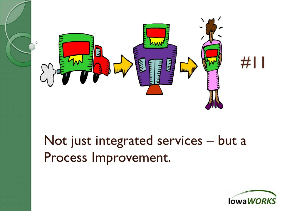#11 Not just integrated services – but a Process Improvement.