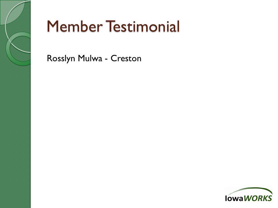 Member Testimonial Rosslyn Mulwa - Creston