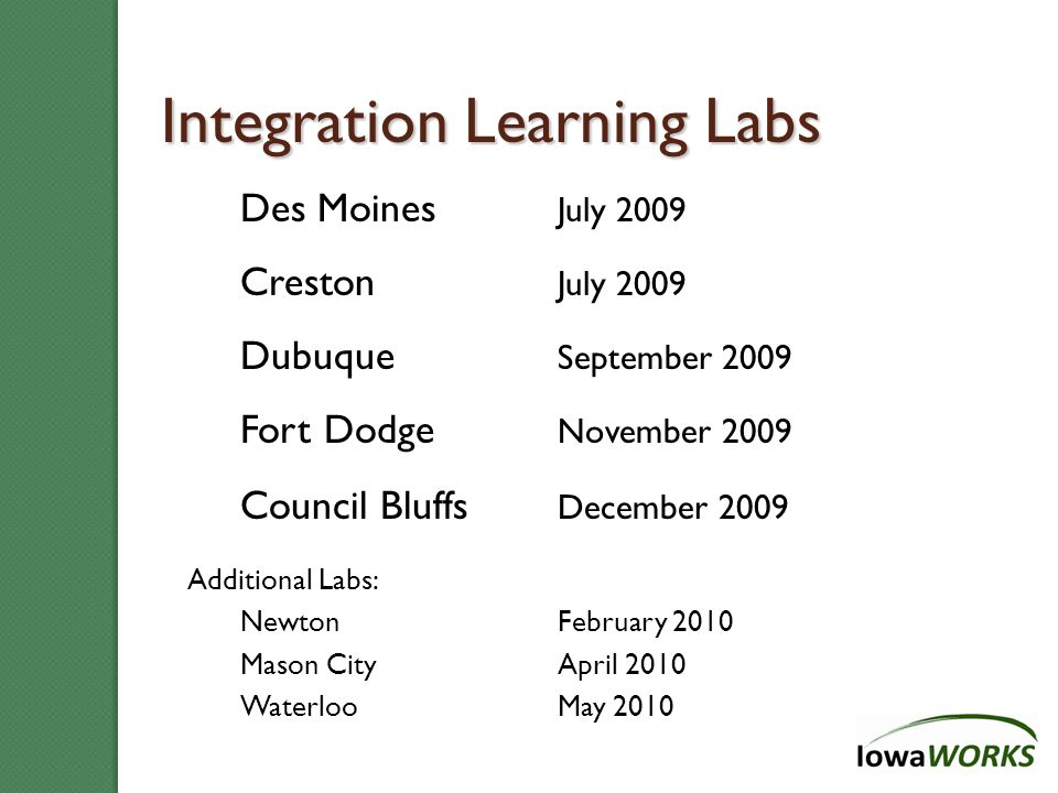 Overview: Iowa's Integration Model 3 Purposes: -Demand-Driven, Skill-based -Effective and Efficient -Value-added Impact 3 Functions/Teams: -Membership -Skill Development -Recruitment & Placement 3 Customer Needs: -Know Skills -Improve Skills -Get Job with Skills 3 Integrated Inputs/Outputs: -Increased Volume -More with Multiple Services -Higher % Skill Enhancement 3 Methods: -Integrated Customer Pool -Integrated Flow and Services -Integrated Staffing 3 Integrated Outcomes: -Entered Employment -Labor-Market Retention -Earnings