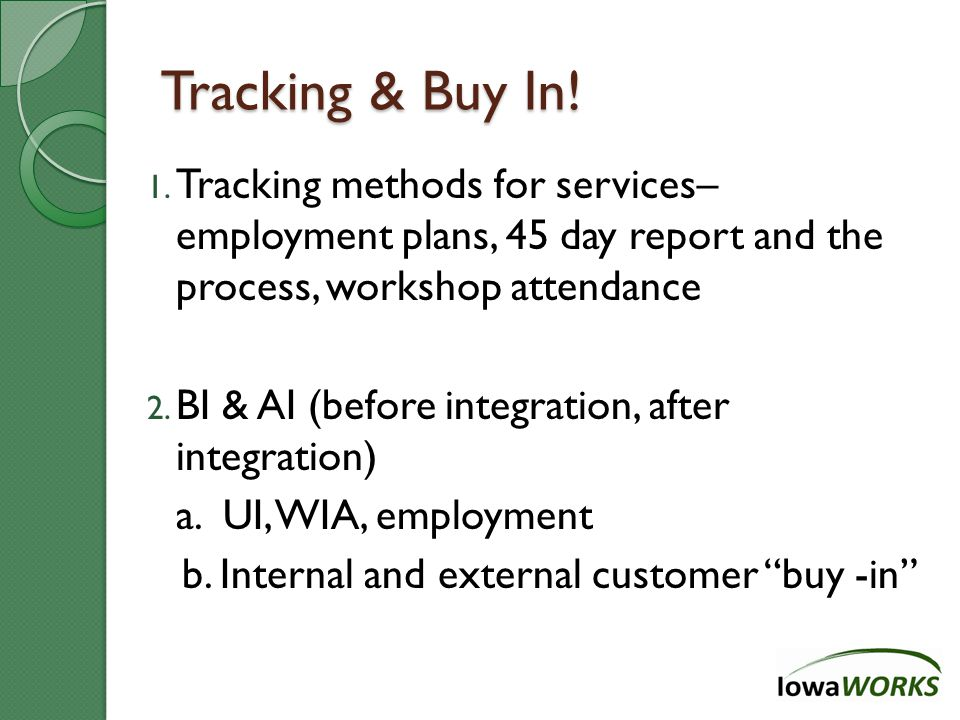 Tracking & Buy In. 1.