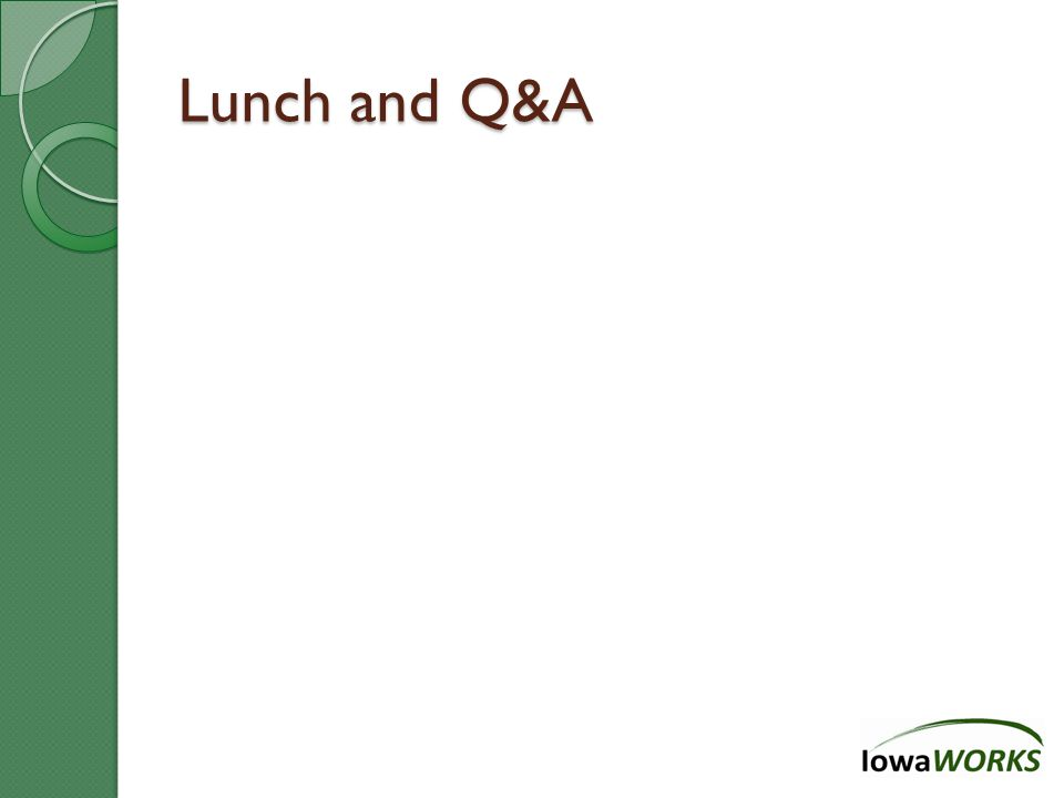 Lunch and Q&A