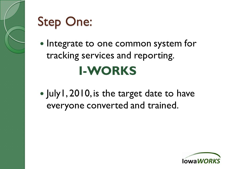 Step One: Integrate to one common system for tracking services and reporting.