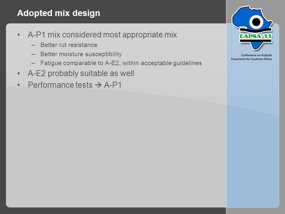 Adopted mix design A-P1 mix considered most appropriate mix –Better rut resistance –Better moisture susceptibility –Fatigue comparable to A-E2, within