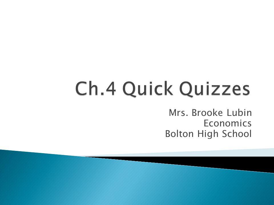 Mrs. Brooke Lubin Economics Bolton High School