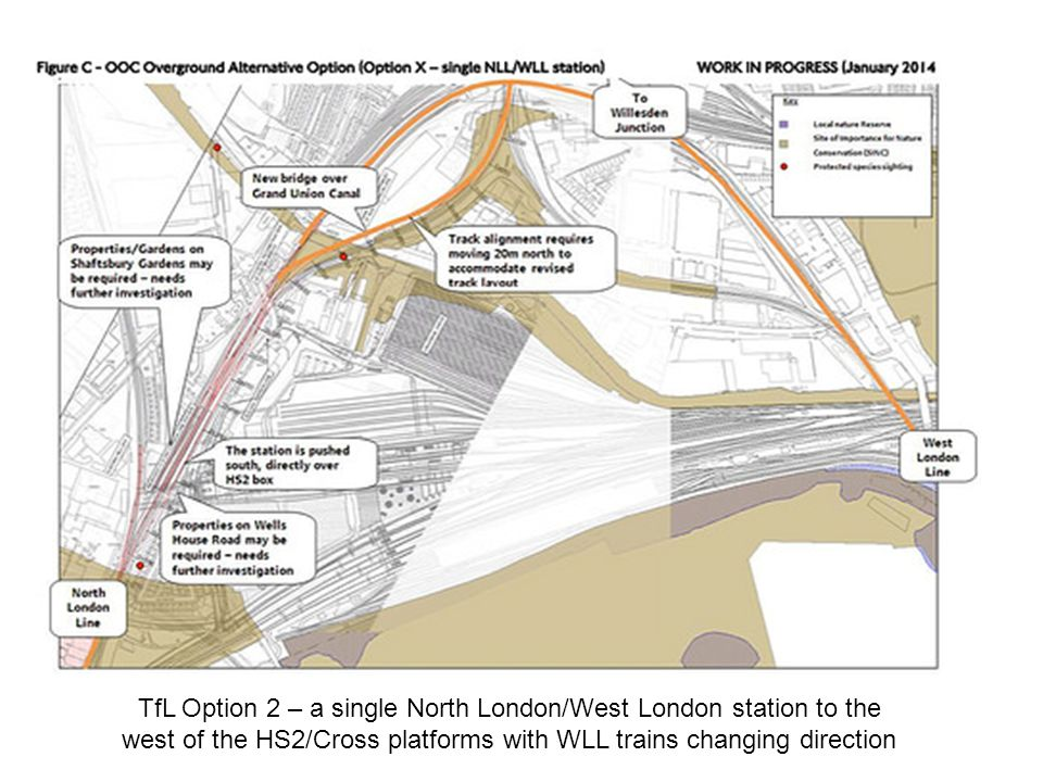 TfL Option 2 – a single North London/West London station to the west of the HS2/Cross platforms with WLL trains changing direction