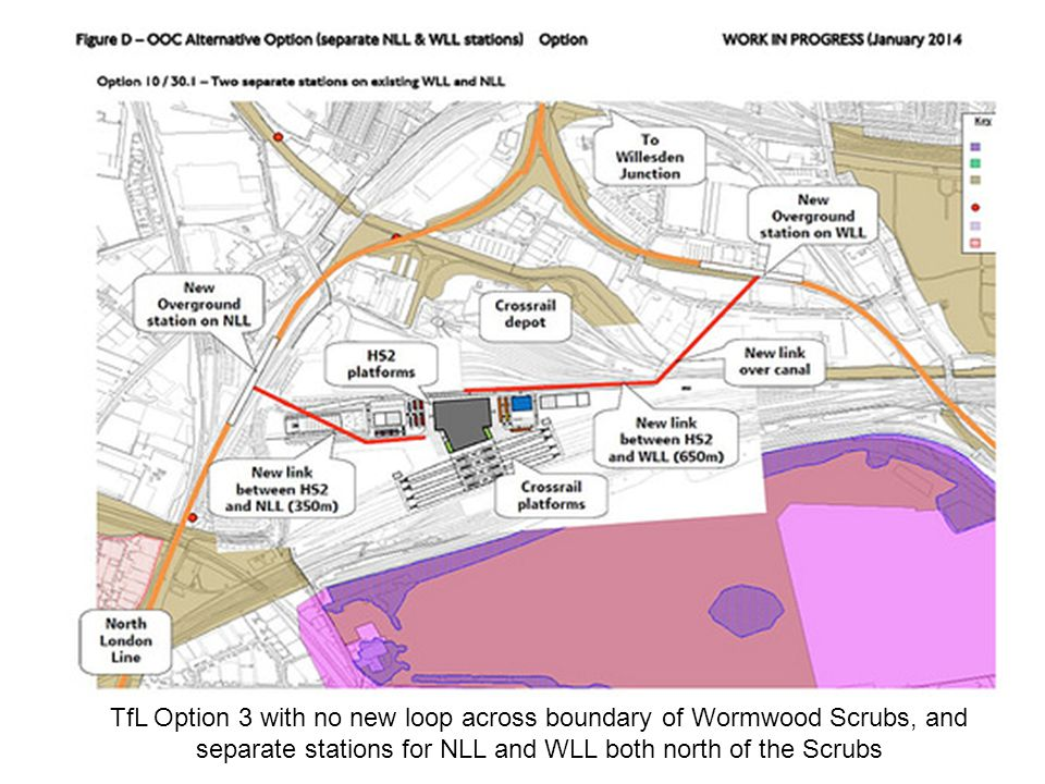 TfL Option 3 with no new loop across boundary of Wormwood Scrubs, and separate stations for NLL and WLL both north of the Scrubs