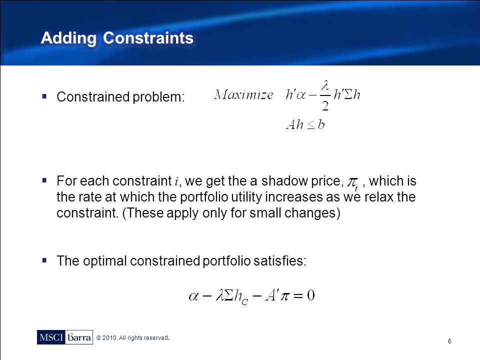 © 2010. All rights reserved.  Constrained problem:  For each constraint i, we get the a shadow price,, which is the rate at which the portfolio util