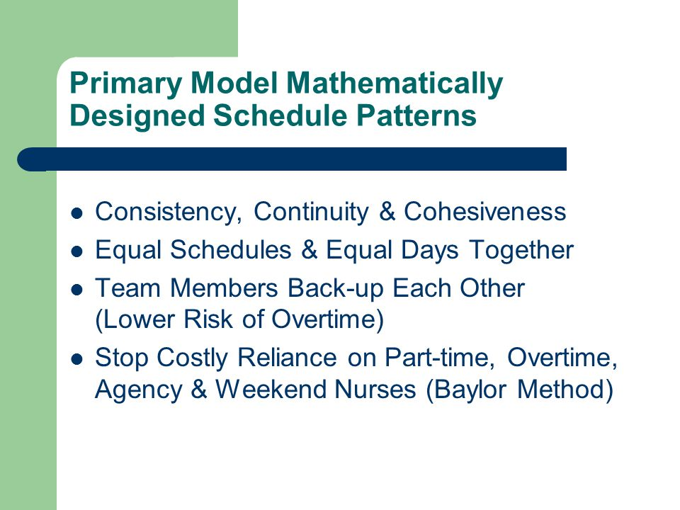 Primary Model Mathematically Designed Schedule Patterns Consistency, Continuity & Cohesiveness Equal Schedules & Equal Days Together Team Members Back-up Each Other (Lower Risk of Overtime) Stop Costly Reliance on Part-time, Overtime, Agency & Weekend Nurses (Baylor Method)