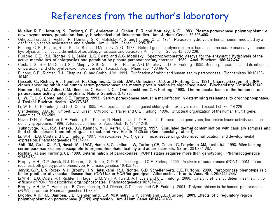 References from the author's laboratory Mueller, R.