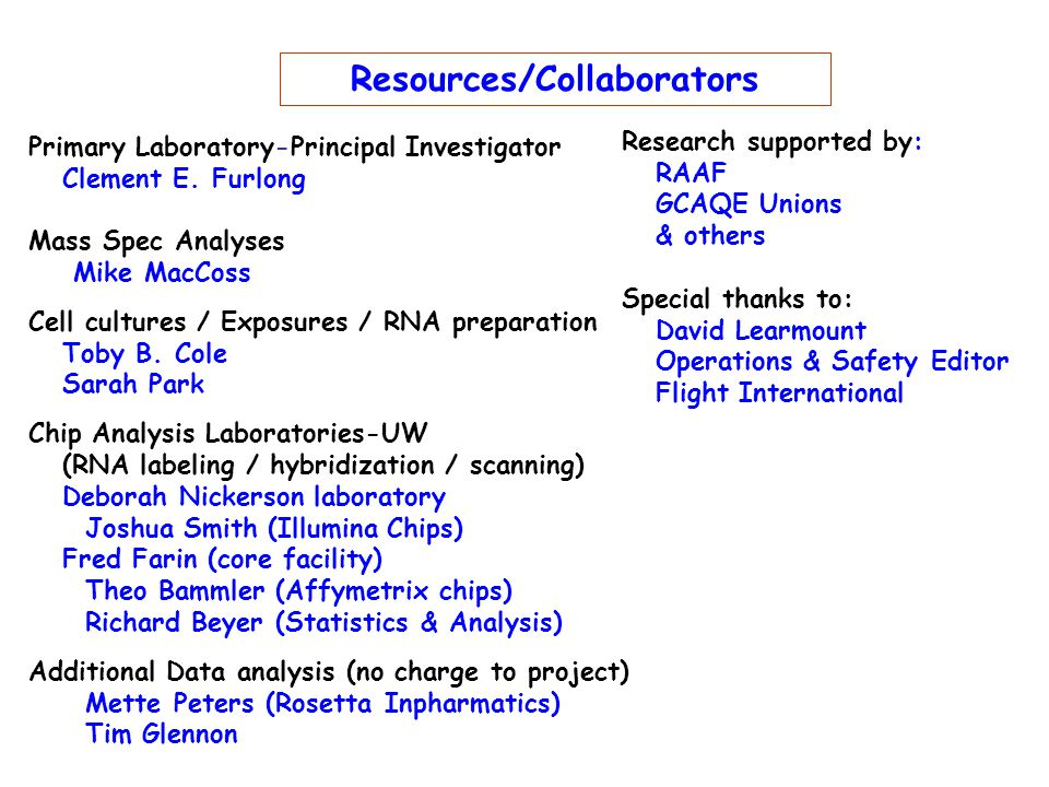 Resources/Collaborators Primary Laboratory-Principal Investigator Clement E.