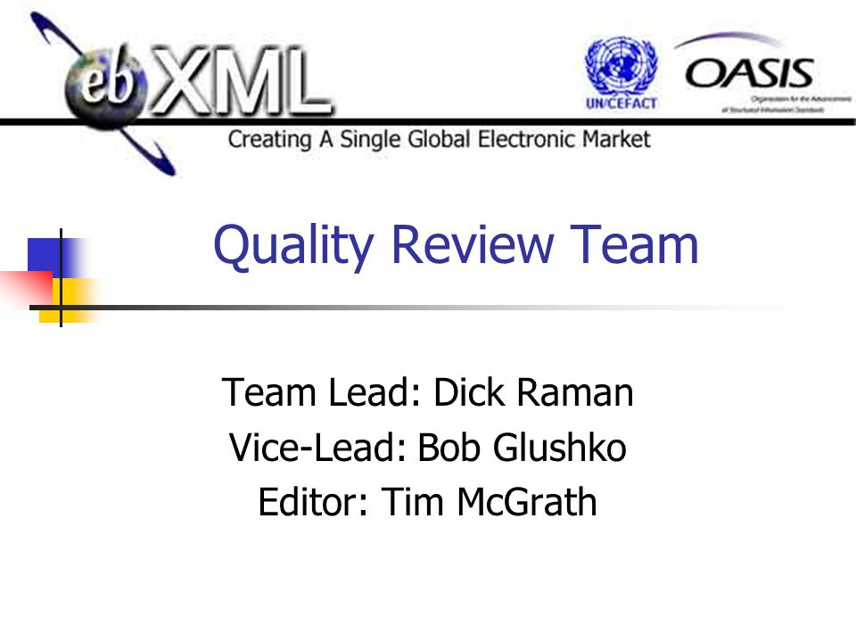 Quality Review Team Team Lead: Dick Raman Vice-Lead: Bob Glushko Editor: Tim McGrath