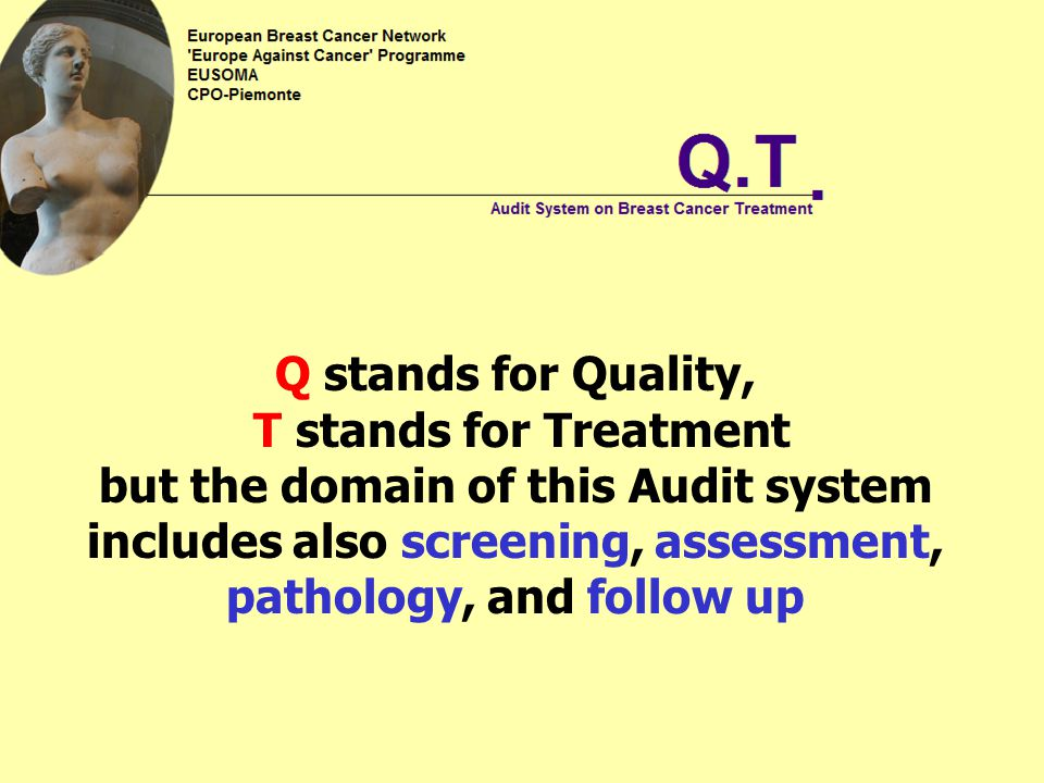 Q stands for Quality, T stands for Treatment but the domain of this Audit system includes also screening, assessment, pathology, and follow up
