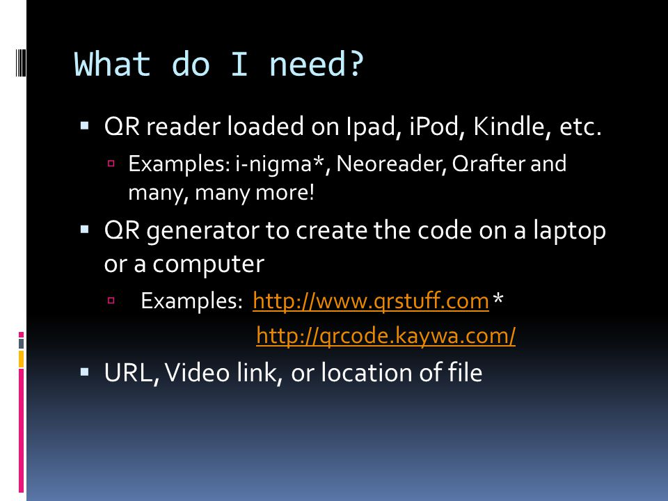 What do I need.  QR reader loaded on Ipad, iPod, Kindle, etc.