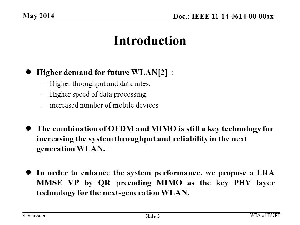 Submission Introduction Higher demand for future WLAN[2] : –Higher throughput and data rates.