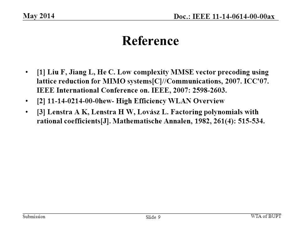 Submission Reference [1] Liu F, Jiang L, He C. Low complexity MMSE vector precoding using lattice reduction for MIMO systems[C]//Communications, 2007.