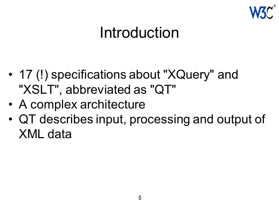 6 The different pieces of the cake 1.The common underpinning of XQuery and XSLT: XPath 2.0 data model & formal semantics 2.How to select information in XML documents: XPath 2.0 3.Manipulating information: XPath functions and operators 4.Generating output: Serialization 5.The XQuery 1.0 and XSLT 2.0 specifications, which deploy 1-4