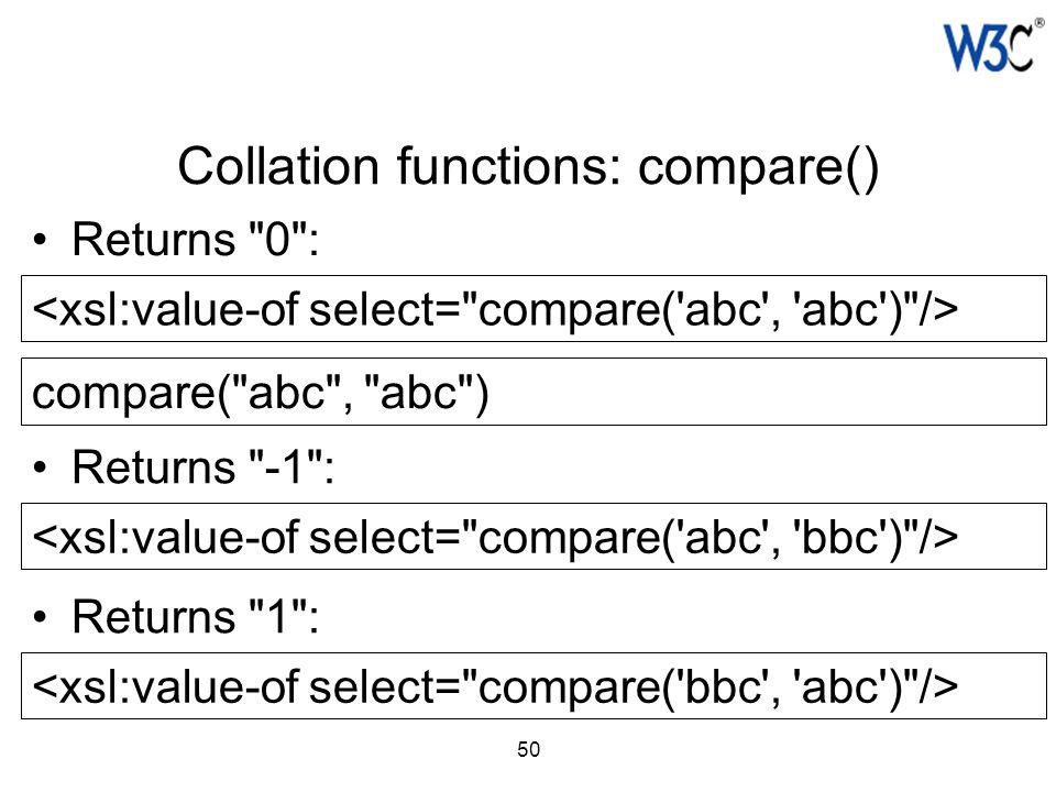 50 Collation functions: compare() compare(