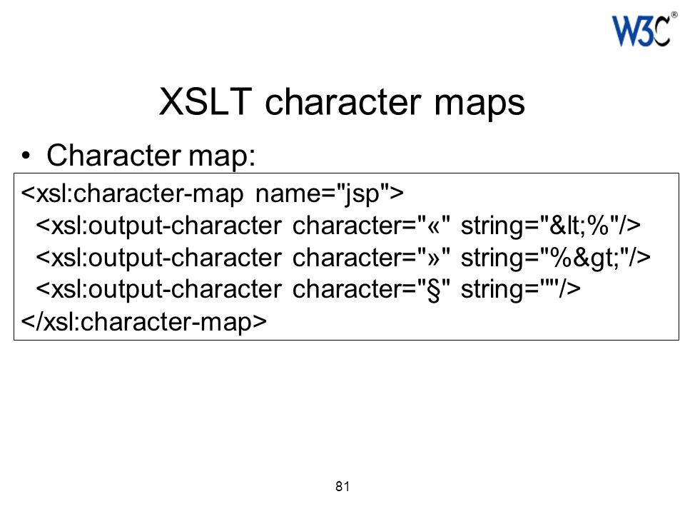 81 XSLT character maps Character map: