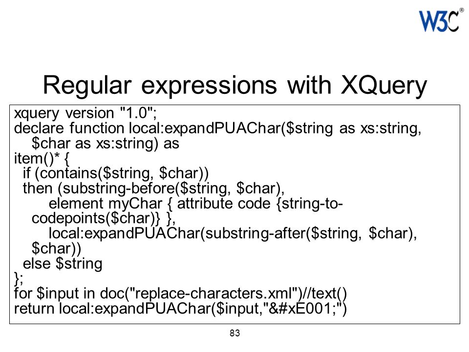 83 Regular expressions with XQuery xquery version