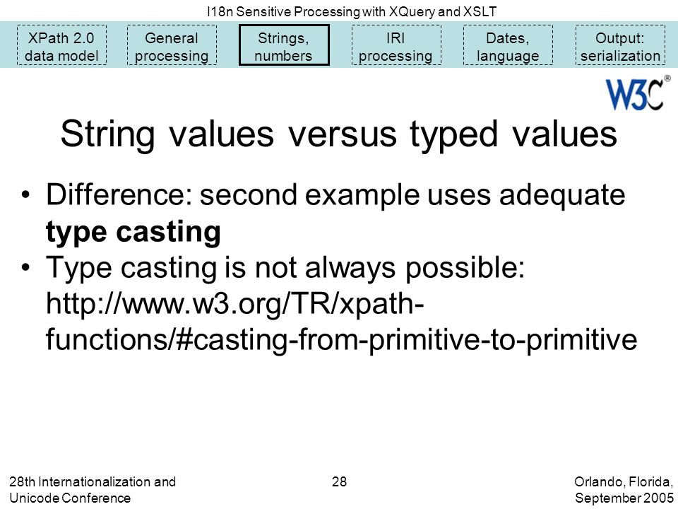 Orlando, Florida, September 2005 I18n Sensitive Processing with XQuery and XSLT 28th Internationalization and Unicode Conference 28 XPath 2.0 data model General processing Strings, numbers IRI processing Dates, language Output: serialization String values versus typed values Difference: second example uses adequate type casting Type casting is not always possible: http://www.w3.org/TR/xpath- functions/#casting-from-primitive-to-primitive