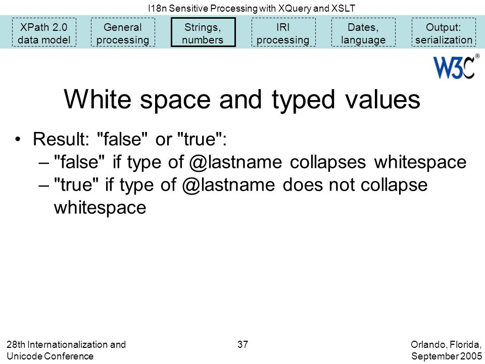 Orlando, Florida, September 2005 I18n Sensitive Processing with XQuery and XSLT 28th Internationalization and Unicode Conference 37 White space and typed values Result: false or true : – false if type of @lastname collapses whitespace – true if type of @lastname does not collapse whitespace XPath 2.0 data model General processing Strings, numbers IRI processing Dates, language Output: serialization