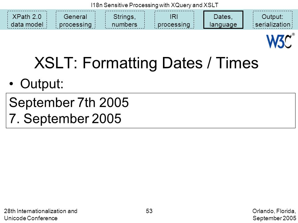 Orlando, Florida, September 2005 I18n Sensitive Processing with XQuery and XSLT 28th Internationalization and Unicode Conference 53 XSLT: Formatting Dates / Times XPath 2.0 data model General processing Strings, numbers IRI processing Dates, language Output: serialization Output: September 7th 2005 7.
