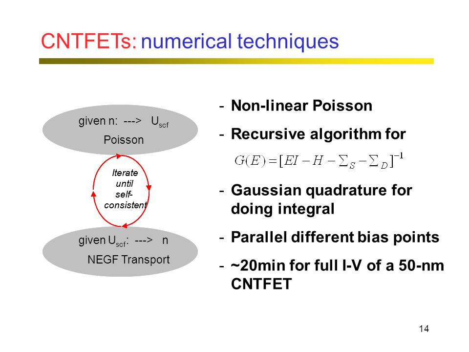 14 CNTFETs: numerical techniques given n: --- > U scf Poisson given U scf : --- > n transport equation Iterate until self - consistent given n: --- > U scf Poisson given U scf : --- > n NEGF Transport Iterate until self - consistent -Non-linear Poisson -Recursive algorithm for -Gaussian quadrature for doing integral -Parallel different bias points -~20min for full I-V of a 50-nm CNTFET