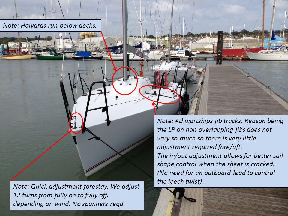 Note: Quick adjustment forestay. We adjust 12 turns from fully on to fully off, depending on wind. No spanners reqd. Note: Athwartships jib tracks. Re