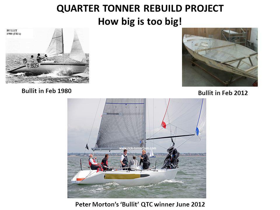 QUARTER TONNER REBUILD PROJECT How big is too big! Peter Morton's 'Bullit' QTC winner June 2012 Bullit in Feb 2012 Bullit in Feb 1980
