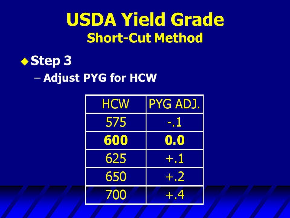 USDA Yield Grade Short-Cut Method u Step 3 –Adjust PYG for HCW